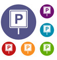 parking sign icons set vector image vector image