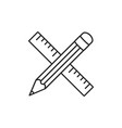 pencil and ruler crossed icon outline design vector image vector image