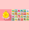 pet store logo set flat style vector image vector image