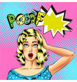 pop art beautiful blond woman with pooof vector image vector image