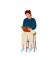 read book boy reading books vector image vector image