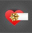 red shiny heart shape isolated on transparent vector image