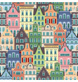 seamless pattern of holland old houses facades vector image
