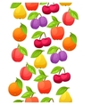 Seamless pattern with stylized fresh ripe fruits vector image