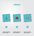 set of famous icons flat style symbols with eiffel vector image vector image