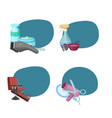 set of stickers with hairdresser or barber vector image