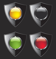 Shield with different color buttons vector image