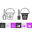 shovel and bucket simple black line icon vector image