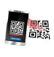 smartphone scans qr code vector image