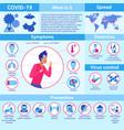 stop pandemic coronavirus covid19 19 infographic vector image