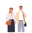 stylish happy man and woman standing together vector image vector image