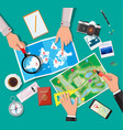 table with paper map planning trip vector image vector image