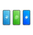 telegram whatsapp messenger logo on iphone screen vector image