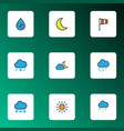 weather icons colored line set with percent wind vector image vector image