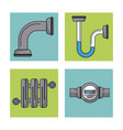 white background with frames of water pipeline and vector image vector image