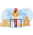 woman works in a warehouse with a box vector image vector image