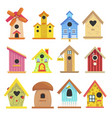 wooden birdhouse set colorful garden outdoor vector image