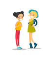young caucasian white girls talking and laughing vector image vector image
