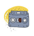 cassette tape cartoon hand drawn image vector image