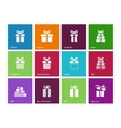 Gift box icons on color background vector image