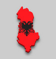 3d isometric map albania with national flag