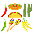 8 colorful cartoon mexican elements vector image