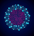 abstract computer glare circuit board blue round vector image vector image
