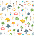 beach rest concept seamless pattern background 3d vector image vector image