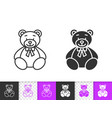bear toy simple black line icon vector image vector image