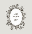 beautiful card with a round wreath of different vector image vector image