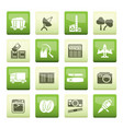 business and industry icons over green background vector image vector image