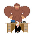 businessman scared under table of bigfoot to hide vector image vector image