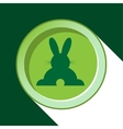 button with dark green back Easter bunny and vector image vector image