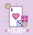 casino heart ace card dices and chip cartoon vector image