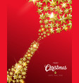 christmas and new year gold star champagne bottle vector image