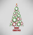 Christmas card with tree of colored circles vector image
