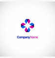 circle triangle geometry colored technology logo vector image