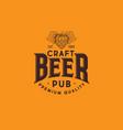 craft beer logo hop cone brewing beer pub label vector image