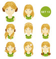 cute blonde little girls with various hair style vector image