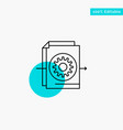 document file gear settings turquoise highlight vector image vector image