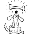 dog with dogbone coloring page vector image