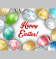 easter greeting card with color eggs vector image vector image