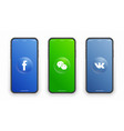 facebook wechat vk logo on iphone screen vector image