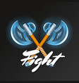fight element with crossed medieval hatchets vector image vector image