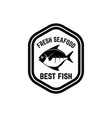 fresh seafood emblem template with fish design vector image vector image