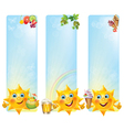 Funny sun with cool desserts and drinks vertical vector image vector image