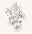 Hand drawn summer vintage beige bouquet
