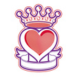 Heart with Crown Emblem vector image vector image