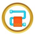 Heated towel rail with orange towel icon vector image vector image