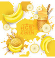 ice cream with banana taste dessert colorful vector image vector image